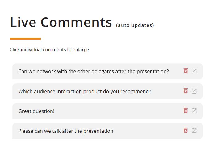 How to use ParticiPoll: a page of comments from the audience of a ParticiPoll polling session